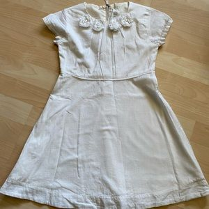 J Crew Crewcuts Girls White Linen Flower Dress 8